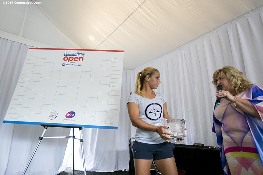 """Dominika Cibulkova participates in the draw ceremony at the 2014 Connecticut Open at the Yale University Tennis Center in New Haven, Connecticut Friday, August 15, 2014."""