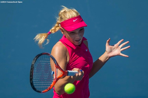 """""""Donna Vekic hits a forehand during a qualifying round match against Belinda Bencic at the Yale University Tennis Center in New Haven, Connecticut Friday, August 15, 2014."""""""