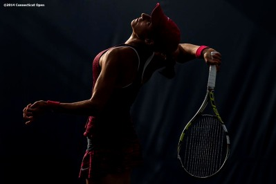 """""""Caroline Garcia serves during a qualifying round match against Su-Wei Hsieh during the 2014 Connecticut Open at the Yale University Tennis Center in New Haven, Connecticut Saturday, August 16, 2014."""""""