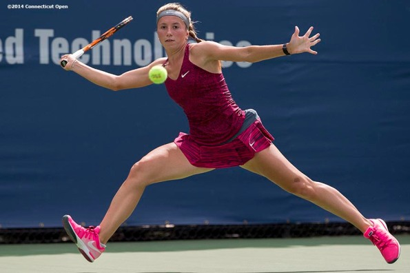 """""""Annika Beck hits a forehand during a match against Misaki Doi on day three of the 2014 Connecticut Open at the Yale University Tennis Center in New Haven, Connecticut Sunday, August 17, 2014."""""""