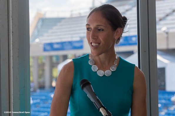 """""""Former WNBA player Rebecca Lobo speaks during the Aetna Symposium on day four of the 2014 Connecticut Open at the Yale University Tennis Center in New Haven, Connecticut Monday, August 18, 2014."""""""