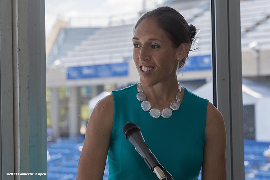 """Former WNBA player Rebecca Lobo speaks during the Aetna Symposium on day four of the 2014 Connecticut Open at the Yale University Tennis Center in New Haven, Connecticut Monday, August 18, 2014."""