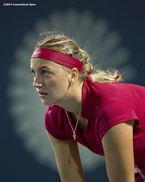 """""""Petra Kvitova gets ready during a match against Ekaterina Makarova on day five of the 2014 Connecticut Open at the Yale University Tennis Center in New Haven, Connecticut Tuesday, August 19, 2014."""""""