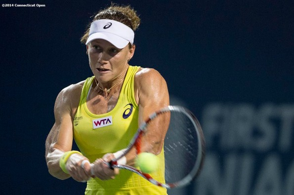 """Samantha Stosur hits a backhand during a match against Eugenie Bouchard on day six of the 2014 Connecticut Open at the Yale University Tennis Center in New Haven, Connecticut Tuesday, August 20, 2014."""