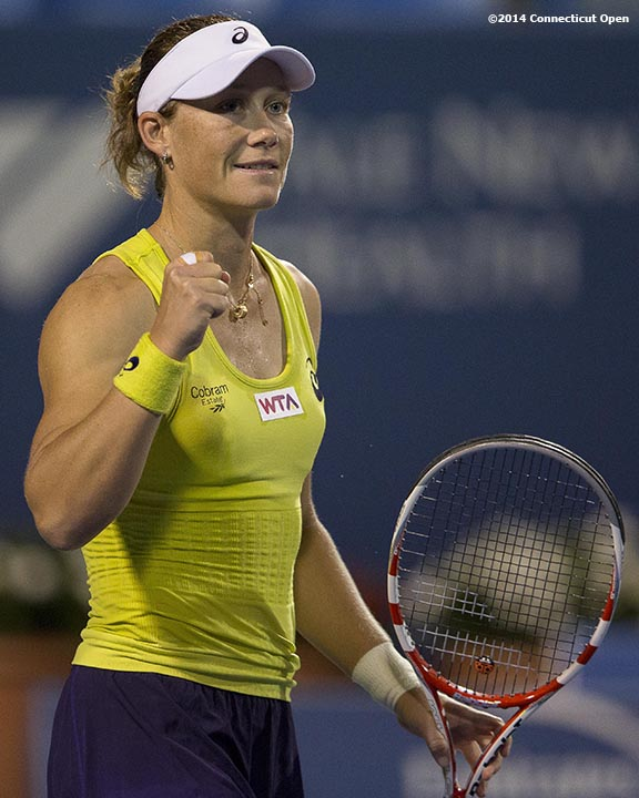 """""""Samantha Stosur reacts after defeating Eugenie Bouchard on day six of the 2014 Connecticut Open at the Yale University Tennis Center in New Haven, Connecticut Tuesday, August 20, 2014."""""""