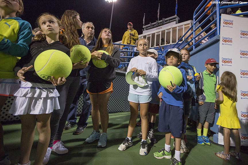 """Fans wait for autographs after a match on stadium court on day six of the 2014 Connecticut Open at the Yale University Tennis Center in New Haven, Connecticut Tuesday, August 20, 2014."""
