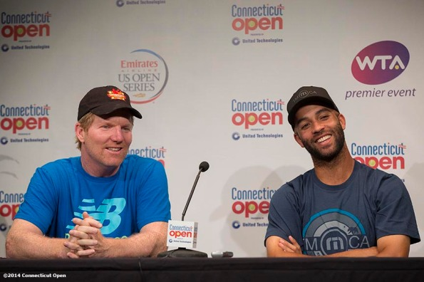 """Jim Courier and James Blake address the media during a press conference before the Men's Legends Event on day six of the 2014 Connecticut Open at the Yale University Tennis Center in New Haven, Connecticut Tuesday, August 19, 2014."""