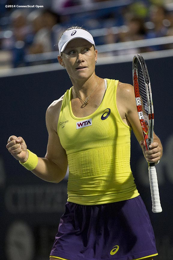 """""""Samantha Stosur reacts after defeating Kirsten Flipkens on day seven of the 2014 Connecticut Open at the Yale University Tennis Center in New Haven, Connecticut Thursday, August 21, 2014."""""""
