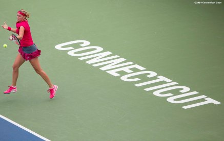 """Petra Kvitova hits a forehand during a match against Barbora Zahlavova Strycova on day seven of the 2014 Connecticut Open at the Yale University Tennis Center in New Haven, Connecticut Thursday, August 21, 2014."""
