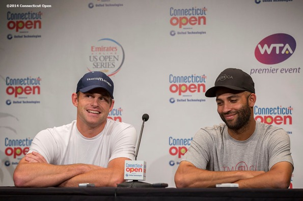 """""""Andy Roddick and James Blake address the media in a press conference during the Men's Legends Event on day seven of the 2014 Connecticut Open at the Yale University Tennis Center in New Haven, Connecticut Thursday, August 21, 2014."""""""