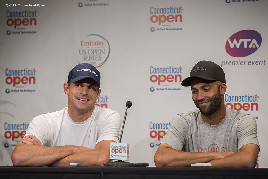 """Andy Roddick and James Blake address the media in a press conference during the Men's Legends Event on day seven of the 2014 Connecticut Open at the Yale University Tennis Center in New Haven, Connecticut Thursday, August 21, 2014."""