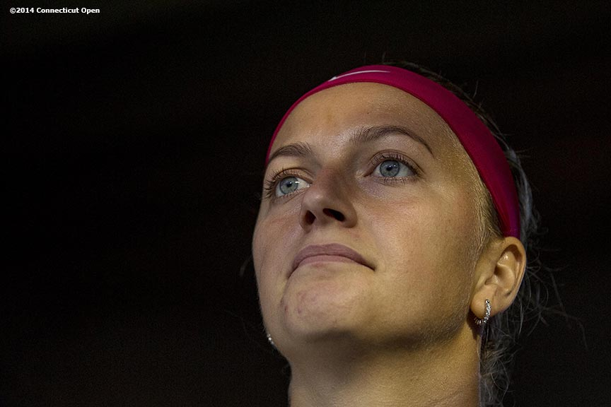"""Petra Kvitova looks on from the tunnel before the semi-final match against Samantha Stosur on day eight of the 2014 Connecticut Open at the Yale University Tennis Center in New Haven, Connecticut Friday, August 22, 2014."""