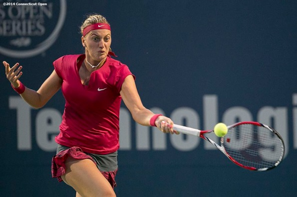 """""""Petra Kvitova hits a forehand during the semi-final match against Samantha Stosur on day eight of the 2014 Connecticut Open at the Yale University Tennis Center in New Haven, Connecticut Friday, August 22, 2014."""""""
