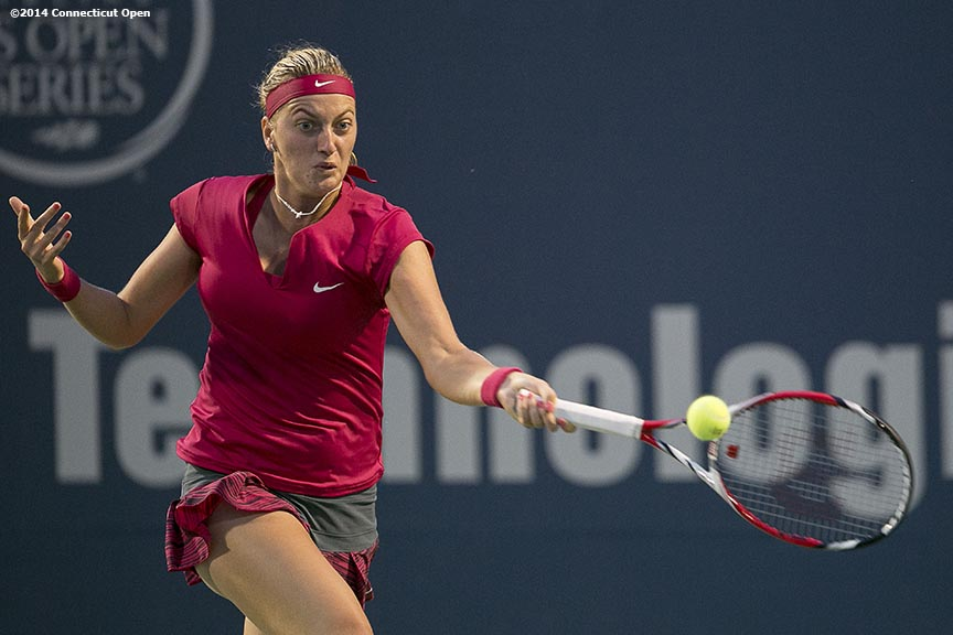 """Petra Kvitova hits a forehand during the semi-final match against Samantha Stosur on day eight of the 2014 Connecticut Open at the Yale University Tennis Center in New Haven, Connecticut Friday, August 22, 2014."""