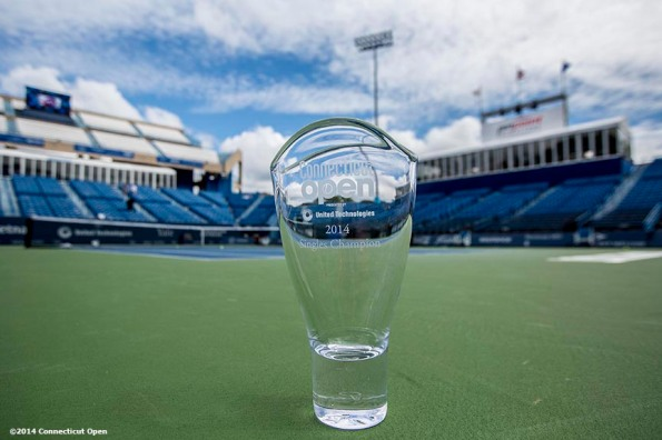 """""""The Connecticut Open Singles Champion trophy is shown on day nine of the 2014 Connecticut Open at the Yale University Tennis Center in New Haven, Connecticut Saturday, August 23, 2014."""""""