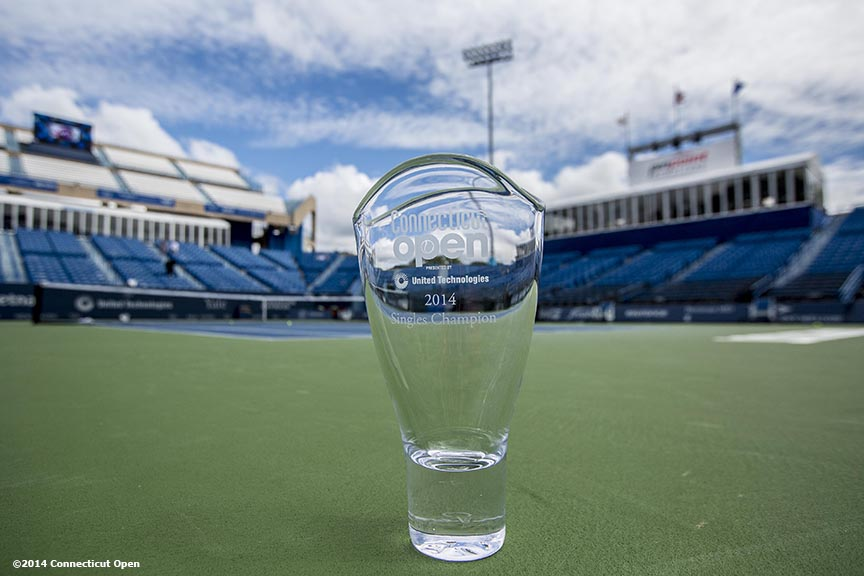 """The Connecticut Open Singles Champion trophy is shown on day nine of the 2014 Connecticut Open at the Yale University Tennis Center in New Haven, Connecticut Saturday, August 23, 2014."""