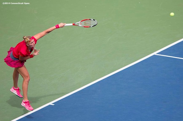 """""""Petra Kvitova serves during the singles final against Magdalena Rybarikova on day nine of the 2014 Connecticut Open at the Yale University Tennis Center in New Haven, Connecticut Saturday, August 23, 2014."""""""