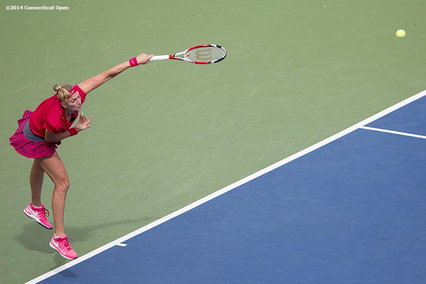 """Petra Kvitova serves during the singles final against Magdalena Rybarikova on day nine of the 2014 Connecticut Open at the Yale University Tennis Center in New Haven, Connecticut Saturday, August 23, 2014."""