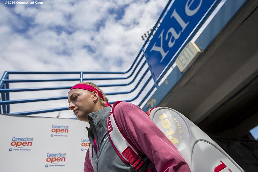"""Petra Kvitova walks out of the the tunnel before being introduced during the singles final on day nine of the 2014 Connecticut Open at the Yale University Tennis Center in New Haven, Connecticut Saturday, August 23, 2014."""