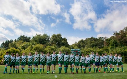 """Members of the Babson College rugby team line up as they are introduced before a match against Brandeis University at Harrington Rugby Pitch at Olin College in Needham, Massachusetts Saturday, September 20, 2014."""