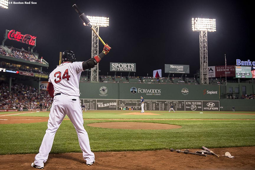 """Boston Red Sox designated hitter David Ortiz stands on deck during the first inning of a game against the Tampa Bay Rays Tuesday, September 23, 2014 at Fenway Park in Boston, Massachusetts."""