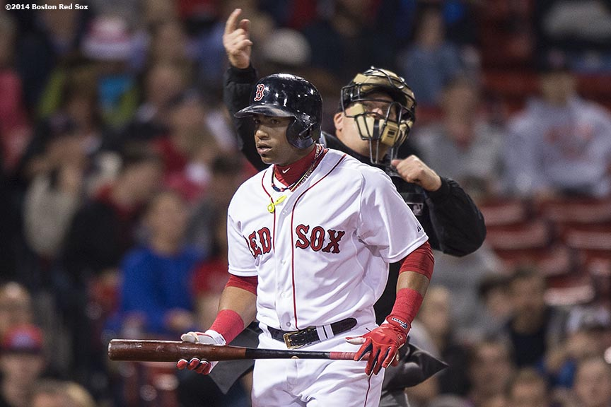 """Boston Red Sox left fielder Yoenis Cespedes is ejected during the eighth inning of a game against the Tampa Bay Rays Tuesday, September 23, 2014 at Fenway Park in Boston, Massachusetts."""