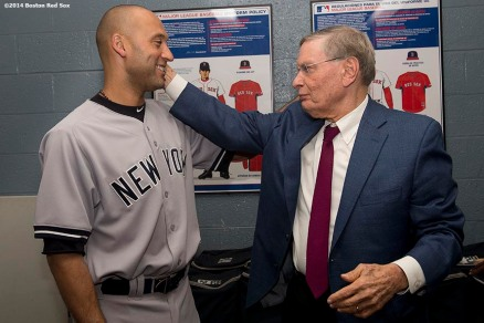 """Major League Baseball Commissioner Allan ""Bud"" Selig meets with New York Yankees Shortstop Derek Jeter in the clubhouse one day before Jeter's final career game during a visit to Fenway Park in Boston, Massachusetts Saturday, September 27, 2014. """