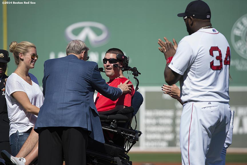 """Major League Baseball Commissioner Allan ""Bud"" Selig greets ALS survivor Pete Frates during a pre-game ceremony at Fenway Park in Boston, Massachusetts Saturday, September 27, 2014. """