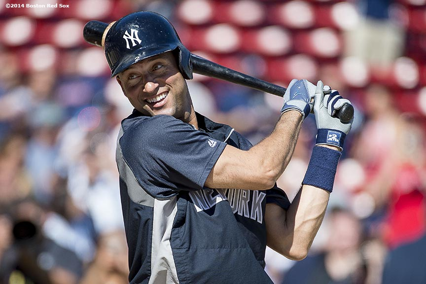 """New York Yankees shortstop Derek Jeter smiles during batting practice before a game against the Boston Red Sox at Fenway Park in Boston, Massachusetts Sunday, September 28, 2014. It was Jeter's last career Major League game."""