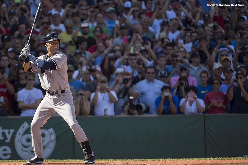"""New York Yankees shortstop Derek Jeter bats during the first inning of a game against the Boston Red Sox at Fenway Park in Boston, Massachusetts Sunday, September 28, 2014. It was Jeter's last career Major League game. """