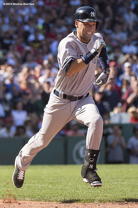 """New York Yankees shortstop Derek Jeter beats out an infield single during the third inning of a game against the Boston Red Sox at Fenway Park in Boston, Massachusetts Sunday, September 28, 2014. It was Jeter's last career Major League game and final career at bat."""