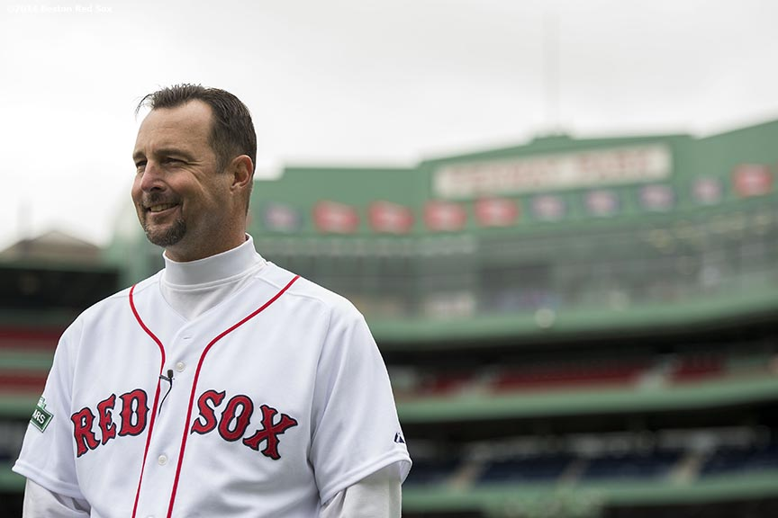 """Former Boston Red Sox pitcher Tim Wakefield is interviewed before throwing batting practice to guests during the Knuckleballs to the Walls batting practice session sponsored by Heineken at Fenway Park in Boston, Massachusetts Friday, October 24, 2014."""