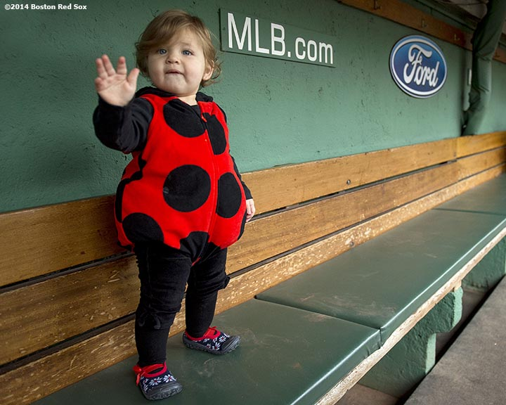 """A trick or treater waves in the dugout during Halloween at Fenway at Fenway Park in Boston, Massachusetts Thursday, October 30, 2014."""