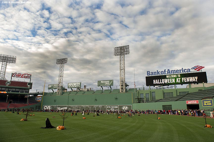 """Halloween decorations are shown during Halloween at Fenway at Fenway Park in Boston, Massachusetts Thursday, October 30, 2014."""