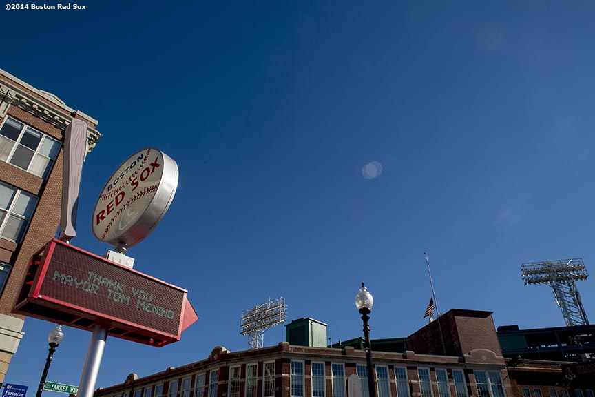 """A sign on Yawkey Way displays 'Thank You Mayor Tom Menino' during a funeral procession for former Boston Mayor Thomas Menino at Fenway Park in Boston, Massachusetts Monday, November 3, 2014."""