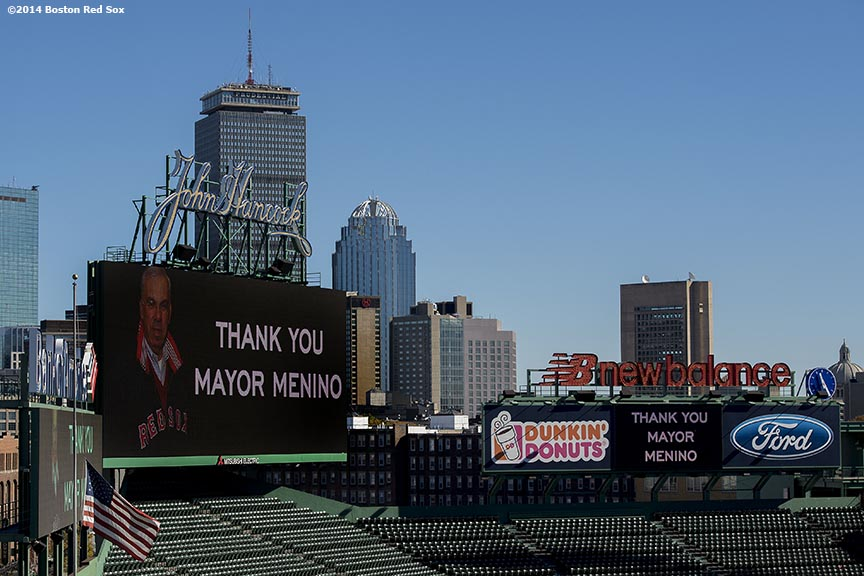 """The video boards inside Fenway Park display a 'Thank You Mayor Menino' message as the funeral procession for Boston Mayor Thomas Menino passes by Fenway Park in Boston, Massachusetts Monday, November 3, 2014."""