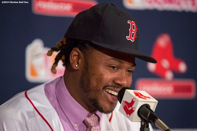 """Newly acquired Boston Red Sox left fielder Hanley Ramirez speaks during a press conference announcing a four-year contract at Fenway Park in Boston, Massachusetts Tuesday, November 25, 2014."""