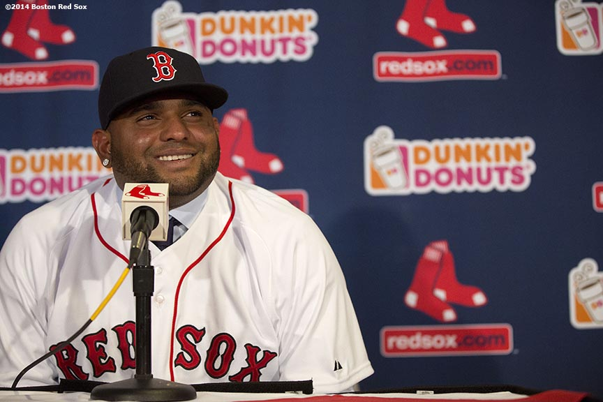 """Newly acquired Boston Red Sox third baseman Pablo Sandoval speaks during a press conference announcing a five-year contract at Fenway Park in Boston, Massachusetts Tuesday, November 25, 2014."""