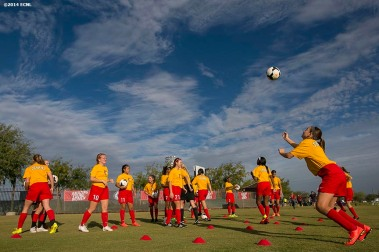 """A team warms up during an Elite Clubs National League (ECNL) soccer tournament at the Reach 11 Sports Complex in Phoenix, Arizona Sunday, November 16, 2014."""