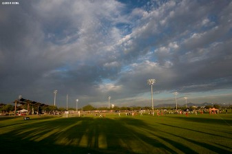 """The sun sets during an Elite Clubs National League (ECNL) soccer tournament at the Reach 11 Sports Complex in Phoenix, Arizona Friday, November 14, 2014."""