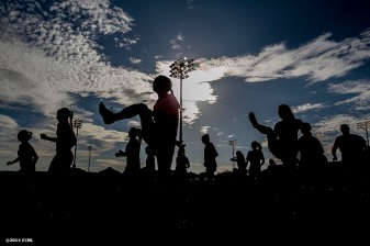 """A team warms up during an Elite Clubs National League (ECNL) soccer tournament at the Reach 11 Sports Complex in Phoenix, Arizona Friday, November 14, 2014."""