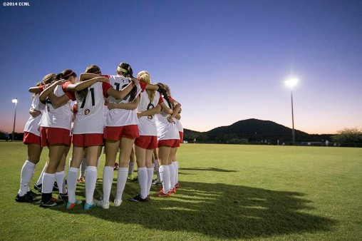 """A team huddles during an Elite Clubs National League (ECNL) soccer tournament at the Reach 11 Sports Complex in Phoenix, Arizona Saturday, November 15, 2014."""