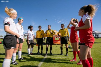 """Teams participate in a coin toss during an Elite Clubs National League (ECNL) soccer tournament at the Reach 11 Sports Complex in Phoenix, Arizona Sunday, November 16, 2014."""