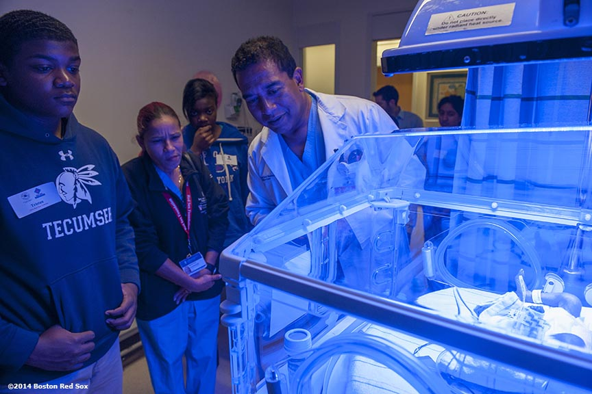 """Red Sox Foundation scholars are given a tour of the neonatal intensive care unit during a visit to Beth Israel Deaconess Medical Center in Boston, Massachusetts Thursday, December 4, 2014. """