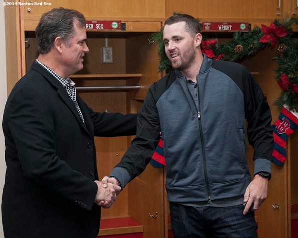 """""""Boston Red Sox manager John Farrell and pitcher Heath Hembree shake hands during Christmas At Fenway Saturday, December 13, 2014 at Fenway Park in Boston, Massachusetts."""""""