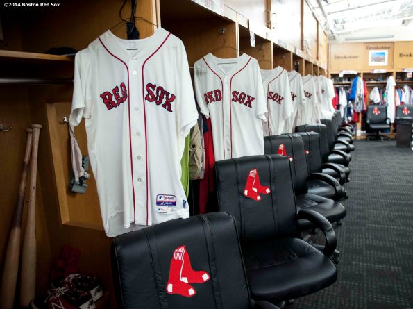 """""""The Boston Red Sox clubhouse is shown during Christmas At Fenway Saturday, December 13, 2014 at Fenway Park in Boston, Massachusetts."""""""
