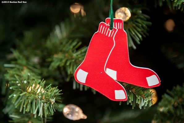 """""""A Boston Red Sox ornament hangs on a christmas tree during Christmas At Fenway Saturday, December 13, 2014 at Fenway Park in Boston, Massachusetts."""""""