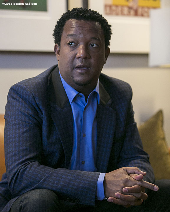 """Former Boston Red Sox pitcher Pedro Martinez talks on a conference call with baseball writers after being informed that he was inducted into the Major League Baseball Hall of Fame at Fenway Park in Boston, Massachusetts Tuesday, January 6, 2015."""