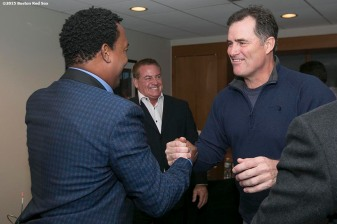 """Former Boston Red Sox pitcher Pedro Martinez shakes hands with Manager John Farrell after being informed that he was inducted into the Major League Baseball Hall of Fame at Fenway Park in Boston, Massachusetts Tuesday, January 6, 2015."""