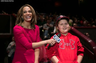 """A fan asks a question with host Elle Woods at the fifth annual NESN Town Hall during the Red Sox Winter Weekend at Foxwoods Resort and Casino in Ledyard, Connecticut Friday, January 23, 2015."""